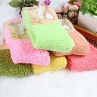 Wholesale girls black bedding - Wholesale- 1 PC Women Girls Bed Socks Pure Color Fluffy Warm Winter Kids Gift Soft Floor Home clothing accessories