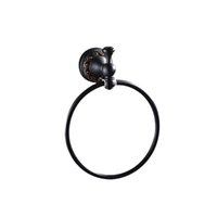 Wholesale Towel Rings Solid Brass - Wholesale And Retail Free Shipping Solid Brass Towel Ring Oil Rubbed Bronze Towel Holder Round Flower Carved Wall Mounted