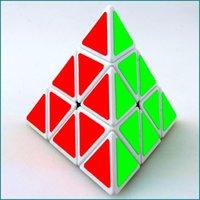 Wholesale Intelligence Pyramid Toys - Shengshou 4-side Triangle Pyramid Pyraminx Speedcubing Puzzle Magic Cube (Black & White) Intelligence Training Educational Toys