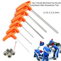 Wholesale Allen T Handle - 6Pcs T-Handle Ball Ended Hex Key Set Long Reach Allen Screwdriver Wrench Tool 22.53568mm