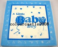Wholesale Decorations For Baby Shower Party - Wholesale- NP054 20pcs Blue Baby Boy Color Napkin Paper 100% Virgin Wood Tissue for Baby Shower Party Decoration Paper Crafts