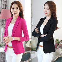 Wholesale Korean Long Blazers For Women - Woman Slim Short Suit Jacket Coat Women Plus Size Korean Suit For Women Elegant Suits Blaser Feminino 2017 Suit Blazer women's blaze 50N0030