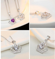 Wholesale Cheap Crown Pendants - New 925 Sterling Silver Jewelry Austrian Crystal Crown Wedding Pendant Silver Necklaces with Chain Cheap factory sale