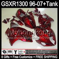 carenado para 97 gsx al por mayor-rojo brillante 8gift para SUZUKI Hayabusa GSXR1300 96 97 98 99 00 01 13MY182 GSXR 1300 GSX-R1300 GSX R1300 02 03 04 05 06 07 Carenado rojo brillante