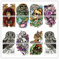 Wholesale Order Tattoo Designs - Waterproof tattoos Large purple beauty skeleton flowers arm design tattoo stickers Men and women with tattoos can wholesale ordering large a