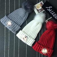 Wholesale Crochet Bonnets - Brand Mon Hats Winter Warm Pom Hat Gorro Bonnet Knitted Beanie Fashion Women Skull Caps Venonat Ski Skiing Crochet Hats Best