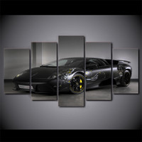 Wholesale Cars Ny - 5 Piece Canvas Art Black Luxury Car HD Printed Wall Art Home Decor Canvas Painting Picture Poster Prints Free Shipping NY-6560A