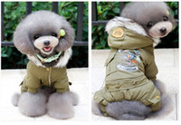 Wholesale Padded Shirt Small - Hot Winter Warm Thick For Large Small Dog Pet Clothes Padded Hoodie Jumpsuit Pants Apparel Hot New Arrival Free Shipping