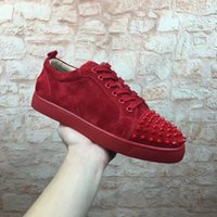 2017Free Shipping New Mens Womens Red Suede avec pointes Low Top EU Bottom Sneakers, Brand Flat Boots Casual Shoes Taille 36-46