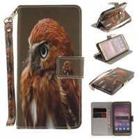 Wholesale Cute Chinese Wallets - For Huawei P8 Lite 2017 P9 P10 Lite Case Cute Animal Painted Built-in Card Slot Wallet Case Flip Stand Cover Retail Package
