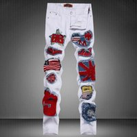 Wholesale Cool Trousers For Men - New men hole jeans 2017 famous white ripped jean with zipper patch pants cool for man stylish patchwork slim straight trousers