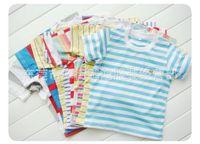 Wholesale Cheap Plaid Short Sleeve Shirts - Children's wear striped shirt Children's short sleeve T-shirt unlined upper garment of cheap wholesale render in summer