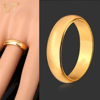 Wholesale- U7 Ring Simple Style Vente en gros Black / Silver / Gold Color 5MM Wide Fashion Wedding Bands Rings pour hommes / femmes Bijoux Cadeau R371