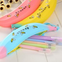 Wholesale Green Shallots - Fashion Estuches School Supplies Stationery New Novelty Silicone Portable shallot Banana Coin Pencil Case Purse Bag Wallet Pouch Keyring