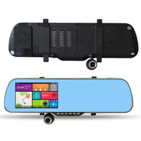 Wholesale gps bluetooth rear view mirror - 5 inch Android Car Mirror GPS Navigation X5 Car DVR WIFI HD 1080P Digital Video Recorder + Rear View Camera A23 8GB With Map