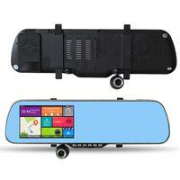 espelho dvr navegação gps venda por atacado-5 polegada Espelho de Carro Android Navegação GPS X5 Carro DVR WIFI HD 1080 P Gravador De Vídeo Digital + Câmera de Visão Traseira A23 8 GB Com Mapa