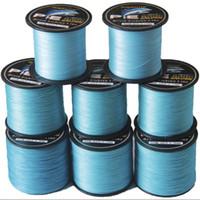 cuerda trenzada de plástico al por mayor-Línea de pesca trenzada de PE azul trenzado de 100 m 4 filamentos de pesca Línea textil Línea de la cometa Sub línea