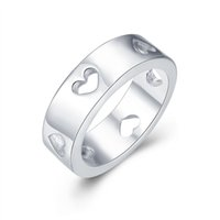 Wholesale Carved African Animals - Fashion 925 Silver Plated Rings Carved Hearts Ladies Women Elegant Ring Jewelry For Party Mix Size