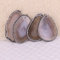 Wholesale Freeform Agate Beads - 5pcs Fashion Nature Onyx Agate Druzy Slice Pendant Bead Paved Crystal Freeform Agate Drusy Gemstone Slice Jewelry Pendant