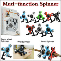 Wholesale Green Center - Fidget Spinner Tri-Spinner 4 in 1 Muti-function Spinner Snap Spinner Center Snap Goll Slide Top Spin Pencil Topper Spin In stock