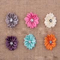 kurdele el işleri toptan satış-Saç Yaylar Klip Petal Çiçekler Firkete İnciler Bakım Yaylar Saten Kurdele Çiçek Dikiş Düğün Craft Karışık Renkli Aksesuarları