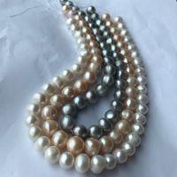 rosa perlen lose perle großhandel-12-14mm Weiß Rosa Silber Grau Authentische Süßwasserperlen Runde Lose Perlen 15 zoll Fit Europäischen DIY Schmuck Handwerk Machen Lieferanten