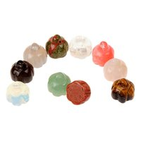 Wholesale Diy Seed Bead Color - Natural Quartz Pendant 10pcs Agate Jasper Guru Bead Carved Lotus Seed Multi Color Top Drilled Spacer Beads DIY Accessories Jewelry Findings