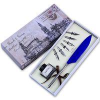 Wholesale Calligraphy Pen Writing - Wholesale- Feather Quill Pen set Calligraphy Writing Pen Mini Dip Pen