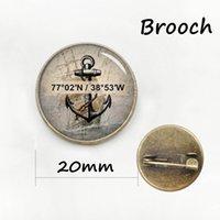 Wholesale Vintage Nautical Compass - Popular luxury navigator compass badge vintage original compass nautical anchor picture brooches men women accessories