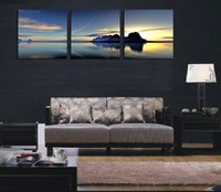 Wholesale Custom Size Canvas Prints - 3 Piece HD Print Modern Landscape Art Painting mountains sea,Home Wall Decor High Quality Canvas in custom sizes