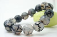 "Wholesale Dragon Power - Natural agate 12 MM white black Dragon vein Beads Gemstone Bracelet Bangle 7.5"""