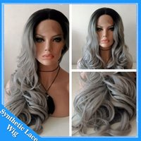 Wholesale Long Grey Wig Heat Resistant - Natural Wavy Ombre 1B# Silver Grey Body Wave Synthetic Lace Front Wig Glueless Long Dark Root Gray Heat Resistant Wigs For Black Women