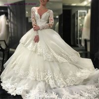 Lace Robe De Mariage Бальное платье с длинными рукавами Abiti Da Sposa Appliques Tiereds Sequined Vestido De Novia Longa Cheap From China