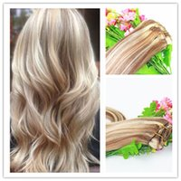Wholesale Golden Blonde Clip Hair Extensions - Balayage Ombre Clip In Remy Human Hair Extension Golden Blonde Brazilian hair 8A Hot Hair 100g piece