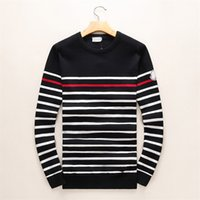 Wholesale Black White Knitwear - Latest Classic stripes Winter Casual Sweater Brand Clothing Long Sleeve Mens Sweaters classic Shirt Pullover O-Neck Knitwear