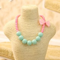Wholesale Candy Jewelry For Kids - Kawaii Pink Lace Bow Tie Kids Necklace Candy Colorful Beaded Necklace for Girl Fashion Girl Choker Jewelry Accessory Wholesale