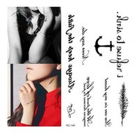 Wholesale Temporary Tattoos Stickers Words - Waterproof Fake Tattoo Harajuku Black Words Anchor Leaf Design Women Finger Cute Flash Tattoo Temporary Tattoos Sticker