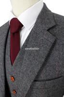 Wholesale Mens Grey Skinny Suit - 2016 Wool Retro Grey Herringbone Tweed British style custom made Mens suit tailor slim fit Blazer wedding suits for men 3 piece