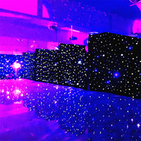 lichter für hochzeit kulissen großhandel-3 mt x 6 mt LED Hochzeit Vorhang LED Stern Tuch Schwarz Bühnenhintergrund FÜHRTE Stern Tuch Vorhang Licht Hochzeit Dekoration