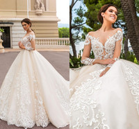 Wholesale blush garden wedding dress for sale - Group buy 2017 Blush Pink Wedding Dresses Lace Appliques Jewel Neck Illusion A line Plus Size Open Back Long Sleeves Bridal Gowns with Court Train