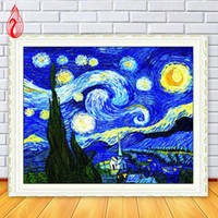 ingrosso dipinti paesaggi marini tropicali-Promozione fai-da-te 5D Diamanti pieni Mosaico Diamanti Ricamo Van Gogh Cielo quadrato Diamante Pittura Punto croce Kit Decorazione domestica