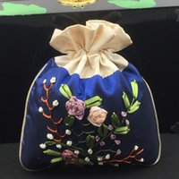 Wholesale Chinese Trinkets - Large Handmade Ribbon Embroidery Silk Brocade Pouch Drawstring Jewelry Gift Packaging Bag Makeup Tools Trinket Storage Pocket