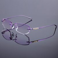 Wholesale Diamond Trim - Wholesale- Titanium Alloy Glasses Frame Original Brand Women Rimless Frames Diamond Trimming Cut Rimless Glasses With Gradient Tint Lenses
