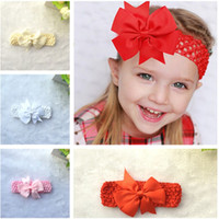 Wholesale Colorful Hair Elastic - Baby Girls Colorful Bowknot Elastic Wide Headbands Solid Ribbed Bow Girls Headwears Children Fashion Hair Accessories 8cm 3 inches C2110