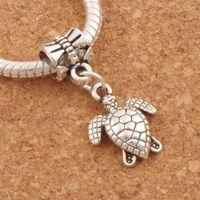 Wholesale Turtle Diy - Turtle Tortoise Animal Big Hole Beads 100pcs lot Antique Silver Fit European Bracelets Jewelry DIY B1176 26.1x12.5mm