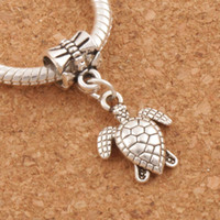 schildkröte perle für schmuck groihandel-Schildkröte Schildkröte Tier Großes Loch Perlen 100 teile / los Antik Silber Fit Europäischen Armbänder Schmuck DIY B1176 26,1x12,5mm