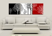 Wholesale Leaves Branches Wall Art - 3 panels Unframed Tree Branch Simple Shadow Flying Leaves Wall Art Painting On Canvas Art Picture For Home Decoration Wholesale,6 Options