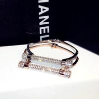 Wholesale Rose Zircon Diamond - hot sale high quality stainless steel jewelry fashion 18K rose gold Luxury glittering zircon diamond bolt bangle bracelet