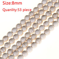 """Wholesale Pink Howlite - Wholesale 2pc set package Natural Stone Handmade White Howlite Stone Beads Spacer Loose for Necklace Bracelet Jewelry Making 15"""" Strand"""