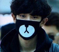 Wholesale Cotton Dust Masks - 1 piece 2016 Black Anti-Dust Cotton Cute Bear Mouth Mask Kpop EXO Chanyeol Chan yeol